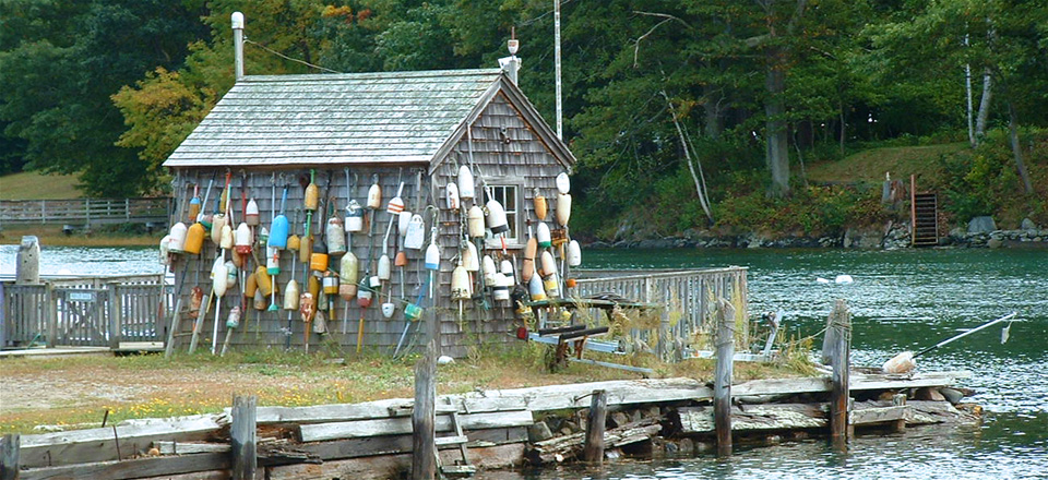 Boat House with Lobster Buoys